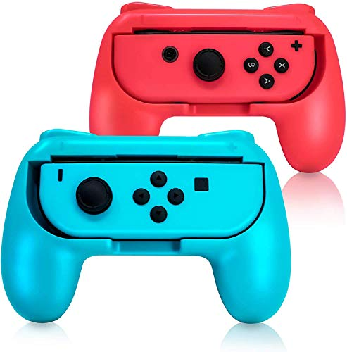 EIMGO Joy-Con Grips for Switch, Wear-Resistant Joy-con Handle for Switch, 2 Pack (Red+Blue)