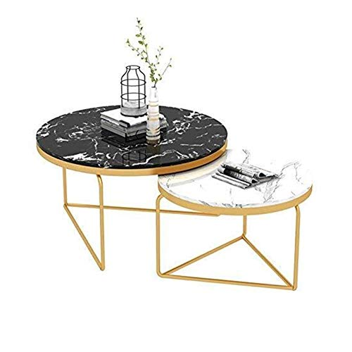 WSHFHDLC coffee table End Tables Extending Coffee Table End Tables Marble Top Bedside Table Contemporary Round Sofa Side Table For Living Room Set Of 2 small coffee tables