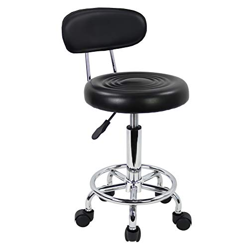 KKTONER PU Leather Modern Rolling Stool with Low Back Height Adjustable Work Salon Drafting Swivel Task Chair with Footrest Black