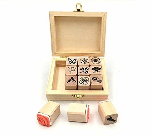 Diary Stamp Set,Wooden Rubber Signet for Children DIY Scrapbooking Planner Album Card Making(12pcs,Natural Elements)