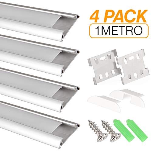 Perfil de aluminio para tira LED, Pack de 4 canaletas de 1 metro para LED con cubierta/tapa blanca translucida protectora. Incluido todo necesario para montaje. (PLATA 002)