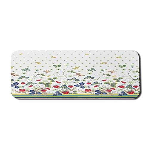 Floral Computer Mouse Pad, Blumen Efeu wirbelt mit Blättern Bögen und Schmetterlinge Weißer Hintergrund mit Punkten Kunst, Rechteck rutschfeste Gummi Mousepad große...