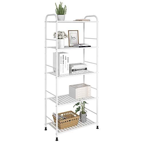 JSB 5-Tier Adjustable Shelving Unit, Heavy Duty Storage Rack Organizer Metal Corner Shelf for Kitchen Living Room Laundry Pantry Bathroom (White, 5 Tier)