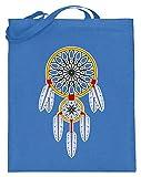 SPIRITSHIRTSHOP Traumfänger mit Federn - Indianerschmuck Und Kultur - Jutebeutel (mit langen Henkeln) -38cm-42cm-Blau
