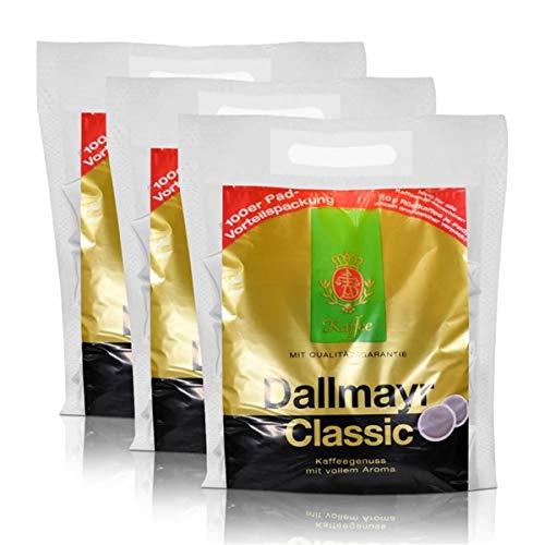 3x Dallmayr Kaffeepads Megabeutel Classic, 100 Pads, kräftig und würzig einzeln verpackt