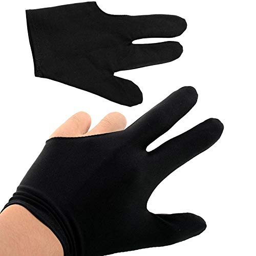 ORNOOU 10 Pieces Sports Billiard Glove Soft Quick-Dry 3 Fingers Show Pool Cue Gloves for Left Right Hand