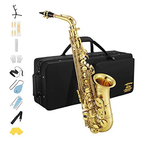 Eastar AS-Φ Commander E - Saxofón plano con correa de corcho, color dorado