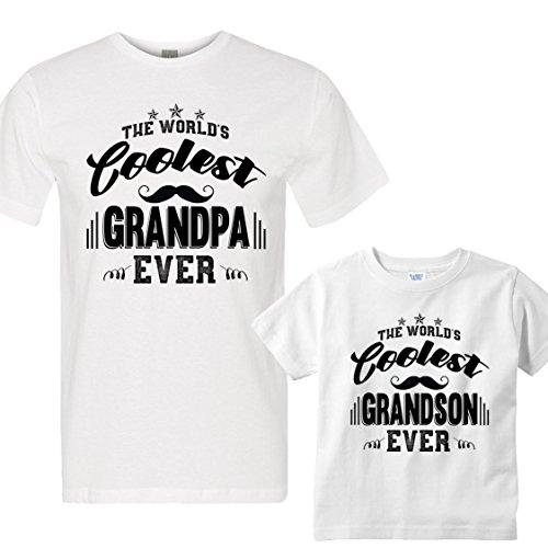 NanyCrafts The World's Coolest Grandpa/Grandson Ever Men 2XL /Boy 5/6 Years White