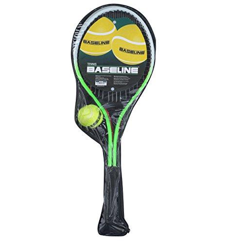 Baseline BG958 Tennisschläger für Kinder, 2 Schläger und Ball, grün/rot