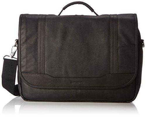 Samsonite Columbian Leather Briefcase, Black, Flapover