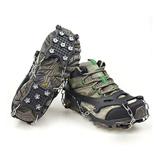 B/S Crampones para botas de montaña, con 12 púas para hielo, elásticas, antideslizantes, para escalada, montañismo, trekking, invierno