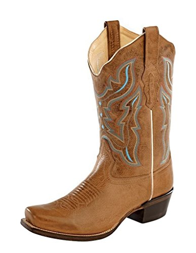 Old West Women's Embroidered Cowgirl Boot Snip Toe Light Brown 5 M US