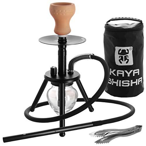 Kaya ELOX Eco Bonfire Shisha - ca. 33cm - dreibeinige Outdoor Wasserpfeife mit Kohlezange und Reisetasche (Schwarz)