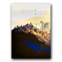 ゴールデンアブストラクトスノーマウンテンランドスケープマップキャンバス絵画アートプリントポスター写真壁 北欧装飾写真家の装飾40x50cmフレームレスOT409-1