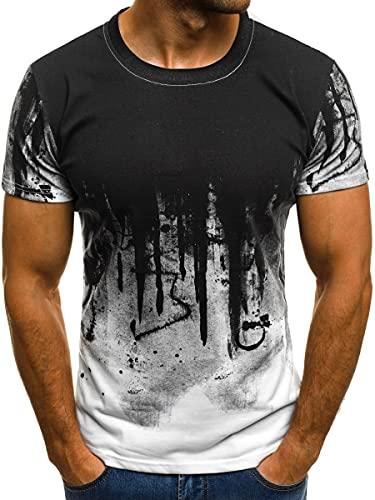 Camiseta Hombre Verano Clásica Moda Cuello Redondo Hombre Deportiva Camisa Personalidad Moda Tie Dye Hombre Casuales Camisa Urbano Moderno Gimnasio Jogging Manga Corta C-White XL