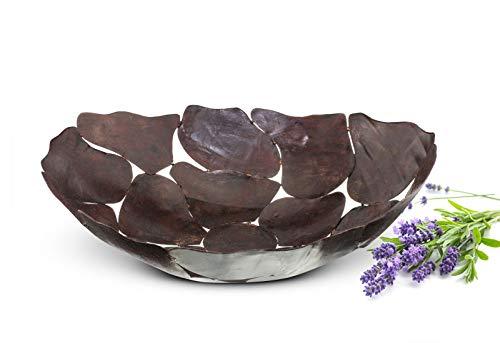Sendez Grote metalen schaal decoratieve schaal schaal metalen mand fruitschaal tafeldecoratie bruin