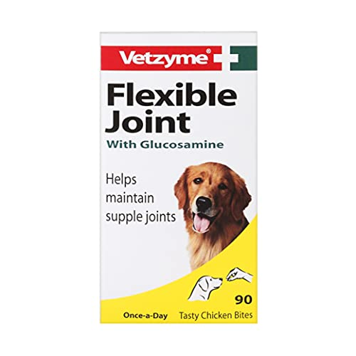 Vetzyme | Flexible Joint Tablets with Glucosamine for Dogs, Promotes Supple and Mobile Joints | Tasty Chicken Treats with Fish Oil (90 Tablets)