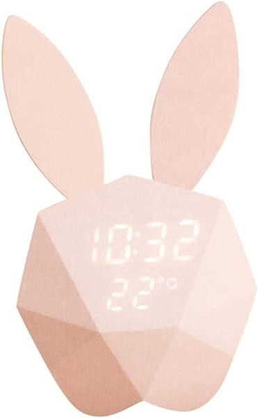Kids Bunny Alarm Clock Wall Clock Cute Night Light Table Clock Wake Up Light Cartoon Rabbit Bedside Table Lamp For Kids Children Adults Mother Pink