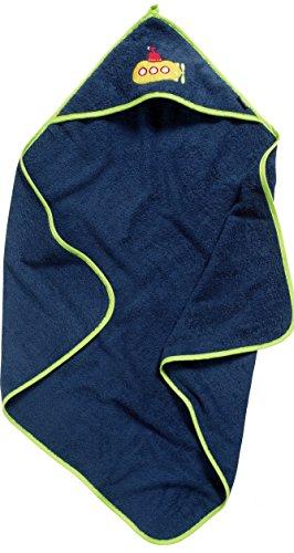 Playshoes Kinder Frottee Kapuzen-Handtuch, praktisches Kapuzentuch für Jungen, mit U-Boot-Stickung