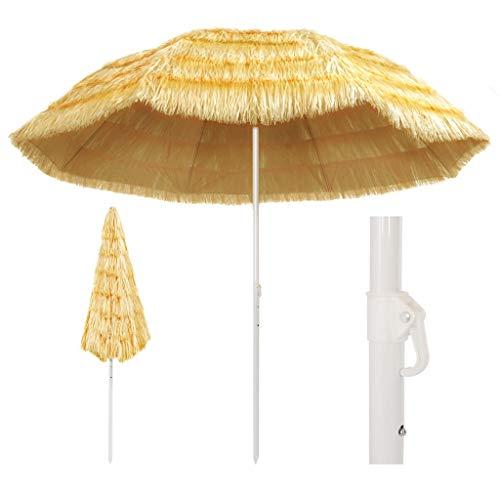 UnfadeMemory Sombrilla de Playa Inclinación,Sombrilla Jardin,Sombrilla Parasol para Jardín Terraza Playa Piscina Patio,Estilo Hawai (Longitud del Arco 300cm)