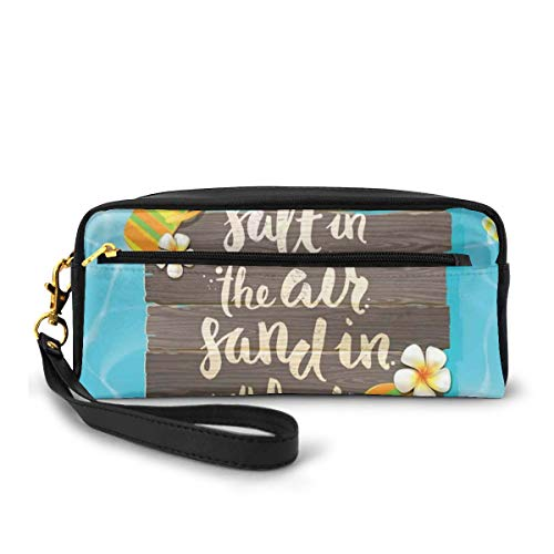 Pencil Case Pen Bag Pouch Stationary,Salt In The Air Sand In My Hair Letter Calligraphy Art With Flip Flops Figure,Small Makeup Bag Coin Purse