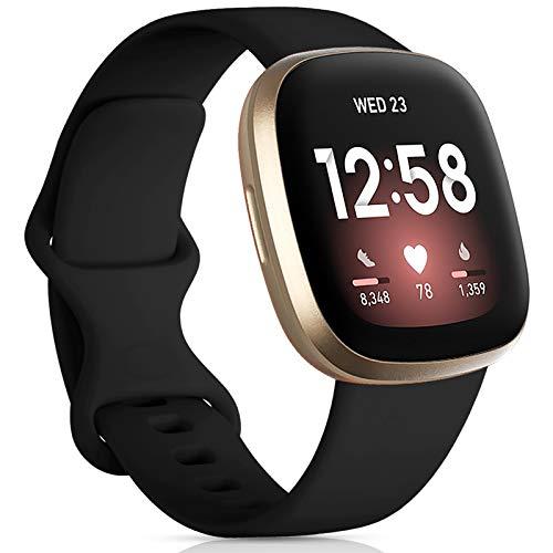 Oielai Kompatibel für Fitbit Versa 3 Armband/Fitbit Sense Armband, Silikon Sport Klassisch Sanft Ersatzarmband Kompatibel mit Fitbit Versa 3/Fitbit Sense, Groß Schwarz