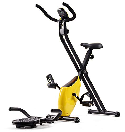 Vouwen Hometrainer Met Twist Disc, Indoor Trimfiets Met LCD-Scherm Foot Trimfiets Equipment Afvallen Fitness Equipment Verstelbare Stoel,Yellow