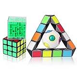 ROXENDA 4 Pack 3-D Puzzles Bundle Brain Teasers Toy Set - 3x3x3 Speed Cube / Rainbow Magic Ball IQ Games / 3D Maze Magic Cube / Magic Snake Cube
