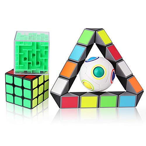 ROXENDA Set di 4 Puzzle 3D in Bundle Set di rompicapi - Cubo di velocità 3x3x3 / Rainbow Magic Ball IQ Games / Cubo Magico Labirinto 3D / Cubo Magico Serpente
