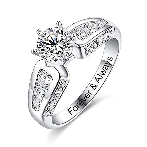 Anillo YCHZX de plata de ley 925, anillo de compromiso para mujer, anillo de boda tallado personalizado, anillo de piedras preciosas, amante, regalo para madre