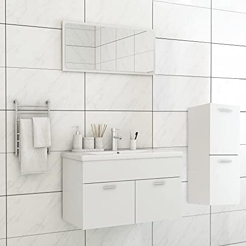 FAMIROSA Conjunto de Muebles de Baño Aglomerado Blanco -1459