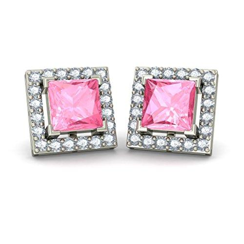 14K oro blanco 0,8quilates round-cut-diamond (IJ | si) y rosa turmalina Stud Pendientes