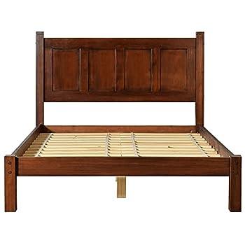 Grain Wood Furniture Shaker Panel Queen Solid Wood Platform Bed Cherry Merlot
