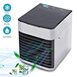 Portable air conditioner, personal air cooler, 3-speed 7-color night light, mini air conditioner, table fan in room and office, air humidifier, air cooler with USB cable