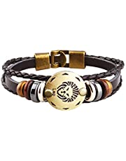 Axgo Retro 12 Zodiac Constellation Alloy Leather Hand Woven Braided Rope Bracelet Punk Chain Cuff, Leo