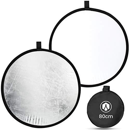 TARION Fotografie Reflektor 2 in 1 Licht Diffusor 80cm Silber Weiß Faltbare Licht Reflektor für Kamera Fotostudio Studiobeleuchtung (80cm)