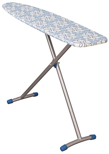 Household Essentials 715300-1 Classic T-Leg Ironing Board with Adjustable Height and Blue Floral Cotton Cover