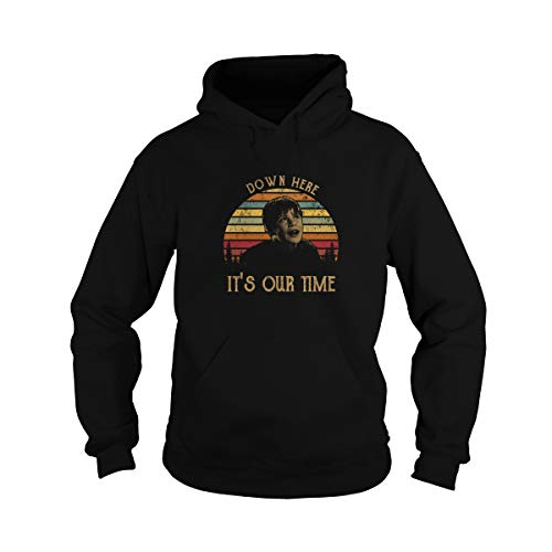 Zoko Apparel Unisex Down Here It's Our Time Vintage Adult Hooded Sweatshirt (Black, Large)