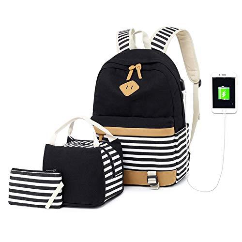 Zaino da scuola per ragazze, in tela, stile casual, da 39,6 cm, con porta USB