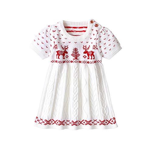 YSpoe Fashion Baby Mädchen Weihnachtliches Strickkleid Pulloverrock Prinzessin Party Weihnachten Outfits Herbst Winter Kurzarm Stricken Cartoon...