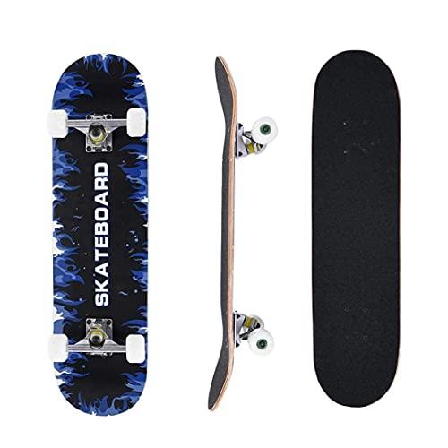 CDPC Blank skateboard, 79 cm komplett skateboard för barn tonåringar vuxna lek, 8 lager kanadensisk lönn svart topp färgad dubbel sparkdäck (skateboard)