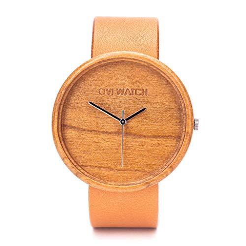 Holzuhr Ovily Von Ovi Watch - Minimalistisches Design Quartz Uhr Mit Leder Armband