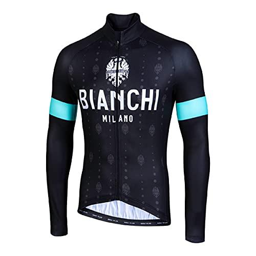 BIANCHI MILANO - Maglia Termica Maniche Lunghe Made in Italy Modello Perticara, Colore Nero Celeste 4000, Taglia L