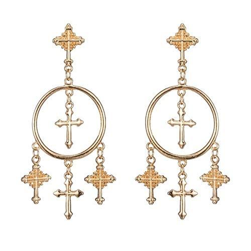 ZYJ Multiple Cross Dangle Oorbellen Sieraden Vintage Gouden Kleur Kruis Kroonluchter Oorbellen voor vrouwen Best Gi