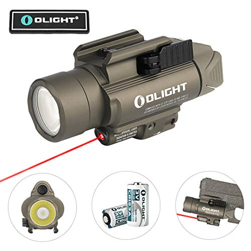 OLIGHT Baldr RL Desert Tan 1120 Lumens 240 Meters Beam Distance Tactical Rail-Mounted Weaponlight with Red Beam, Powered by 2 x CR123A Batteries