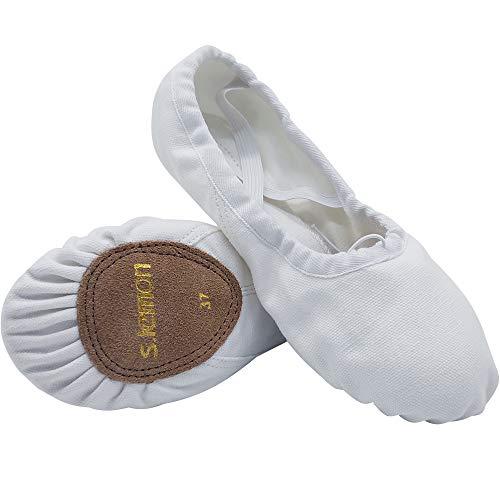s.lemon Scarpe da Danza Classica Scarpette da Ballo Tela a Doppio Strato Danza Scarpette Danza per Bambini e Adulti Bianco (35 EU)