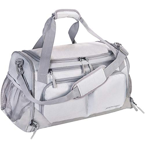 """Gym Bag, Sports Travel Duffel Bag with Shoes Compartment & Wet Pocket & Water Resistance Pouch, Men Women, 31L (17""""), Gray"""