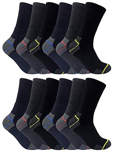 3, 6, 12 Paires Homme Travail Trekking Renforcées Éponge Elastique Doux Coton Chaussettes pour les Bottes de Sécurité 45-50 eu (45-50, 12 Pairs)
