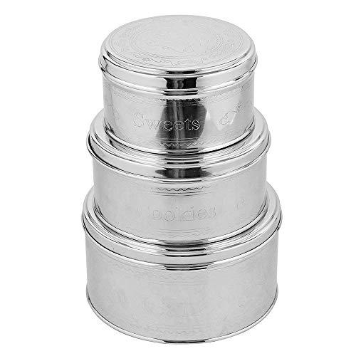 Kosma Set von 3 Edelstahl-Kanister für Kuchen-Kekse - Kekse - Süßigkeiten-Nuts-Craft Zubehör - 5