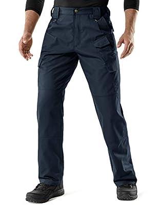 CQR Men's Tactical Pants, Water Repellent Ripstop Cargo Pants, Lightweight EDC Hiking Work Pants, Outdoor Apparel, Duratex Mag Pocket(tlp107) - Navy, 34W x 30L